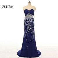 Baijinbai 2018 Nouveau Mode Real Sample Chérie Strass Balayage Train Plissant Sirène Bleu Royal Longue De Bal DressesS110205