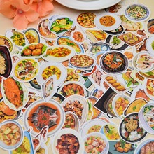 128pcs Self-made Handbook Sticker Chinese Food Collection Snacks Sticker  Creative Student Diary Handpainted Decoration