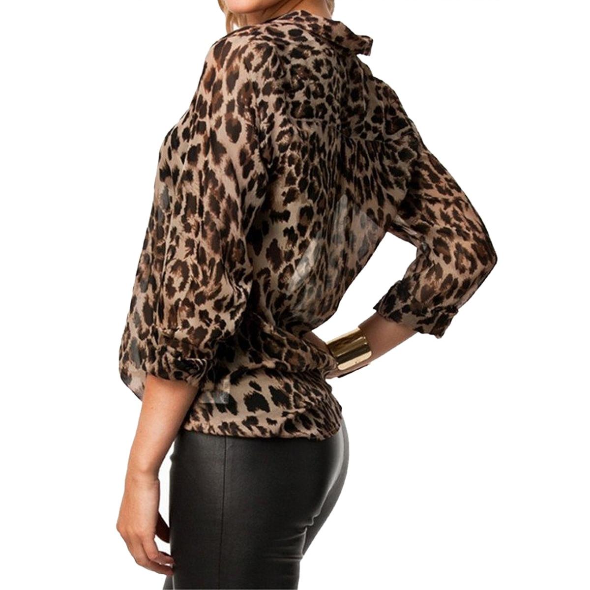 High Street Blusas Femininas Women Blouse Ladies Sexy Long Sleeve Leopard Print Chiffon Blouses Blusas Tops Shirt for Women