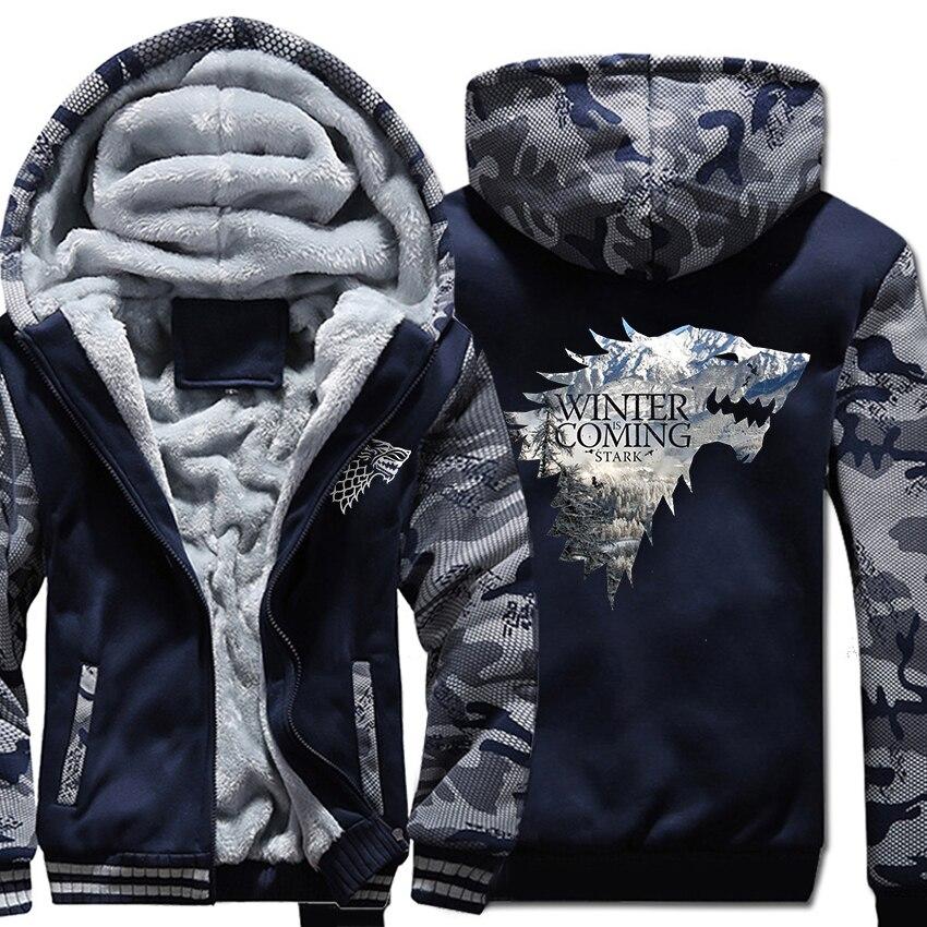 2019 Thick Sweatshirts For Men Jacket Camouflage Hooded Hoodie Game Of Thrones Stark House Men's Hoodies Winter Is Coming Hoody