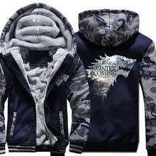 2019 Thick Sweatshirts For Men Jacket Camouflage Hooded Hoodie Game Of Thrones Stark House Mens Hoodies Winter Is Coming Hoody