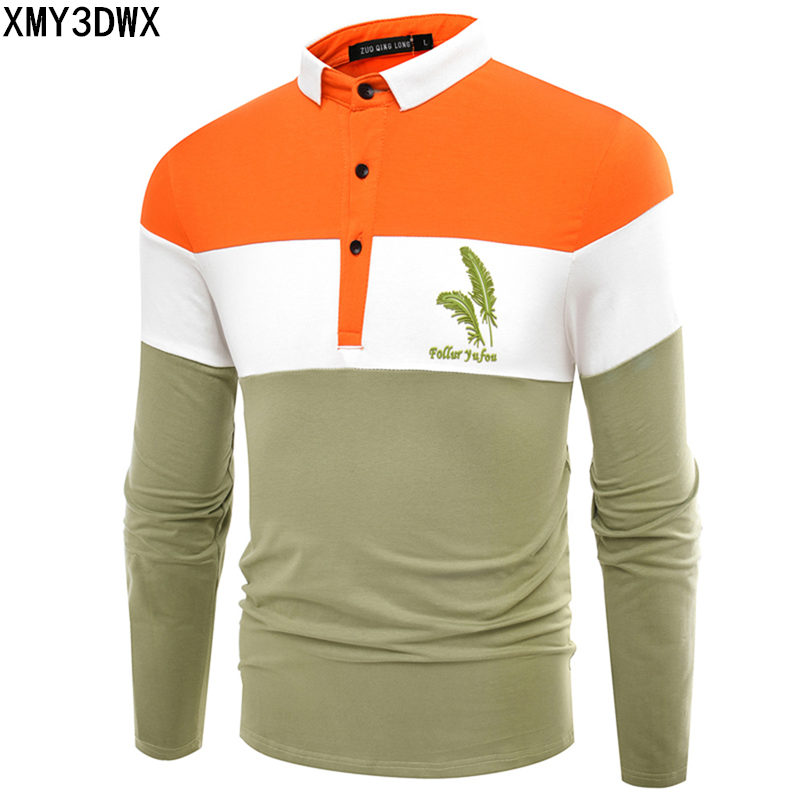 2018 autumn Fashion casual men's   polo   shirts long sleeve cotton male Feather Printing Slim Fit Blue Green   Polo   Shirts Clothing