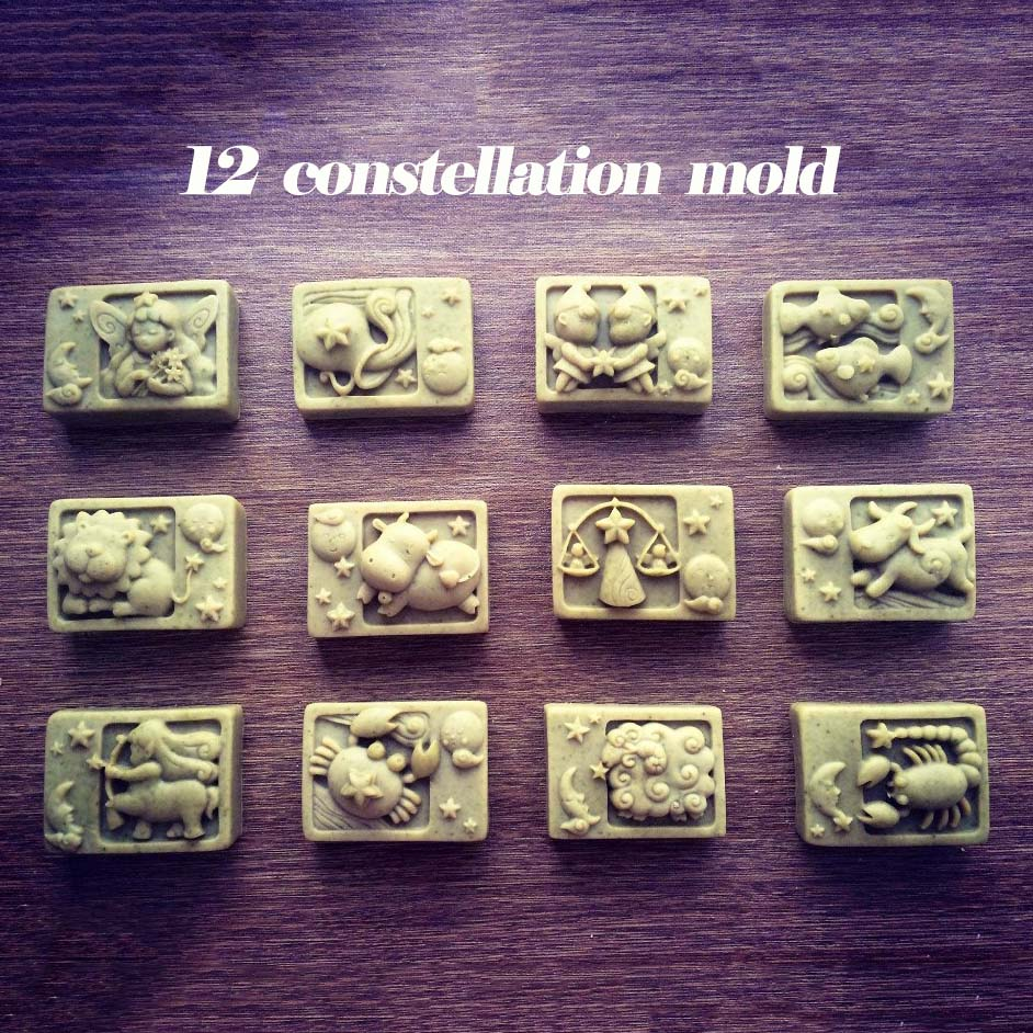 Handmade silicone soap molds 12 zodiac constellation soap molds star sign clay candle molds concrete molds
