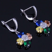 лучшая цена Heart Shaped Multigem Multicolor Brown Cubic Zirconia White CZ 925 Sterling Silver Drop Dangle Earrings For Women V0772