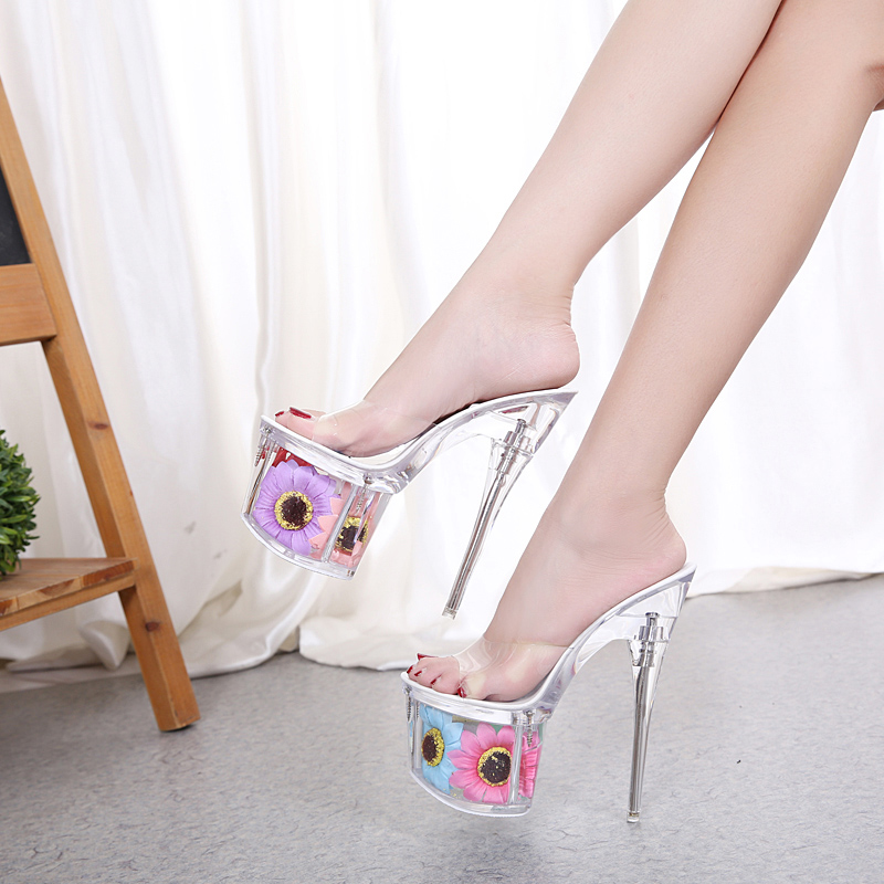 2018 Women Slippers Summer Sun Flower Sexy Crystal Slippers Thin Heels 17cm Transparent Sandals Cool Size 34-43 Wedding Shoes