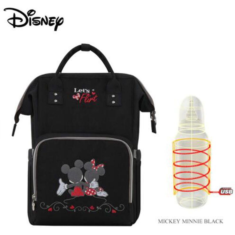 Disney Baby Diaper Bags USB Mickey Heating Mummy Mochila Maternity Nappy Diaper Stroller Bag Insulation Bebek Bakim Cantalari