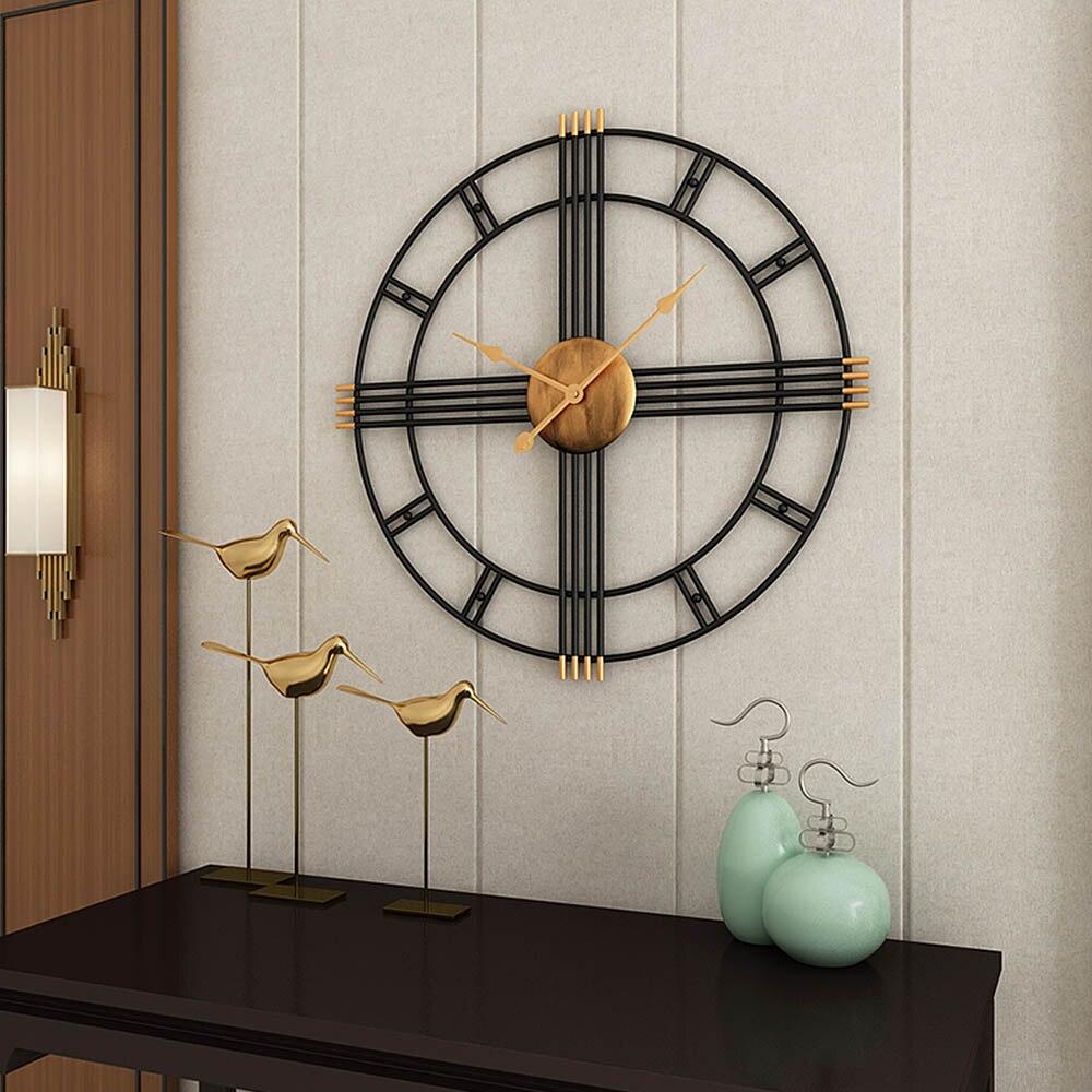 1pcs Retro Metal Mute Wall Clocks Silent Clock Home Office Quartz Watch Wall Hanging Clock Round Wall Watch Decor