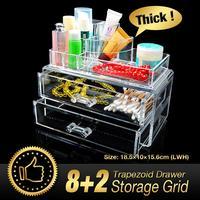 10 Grid 3 Layer Drawer jewelry Box Make up Organizer Storage Holder Skin Care Cabinet Clear Acrylic Large Display Box EQC368 POK