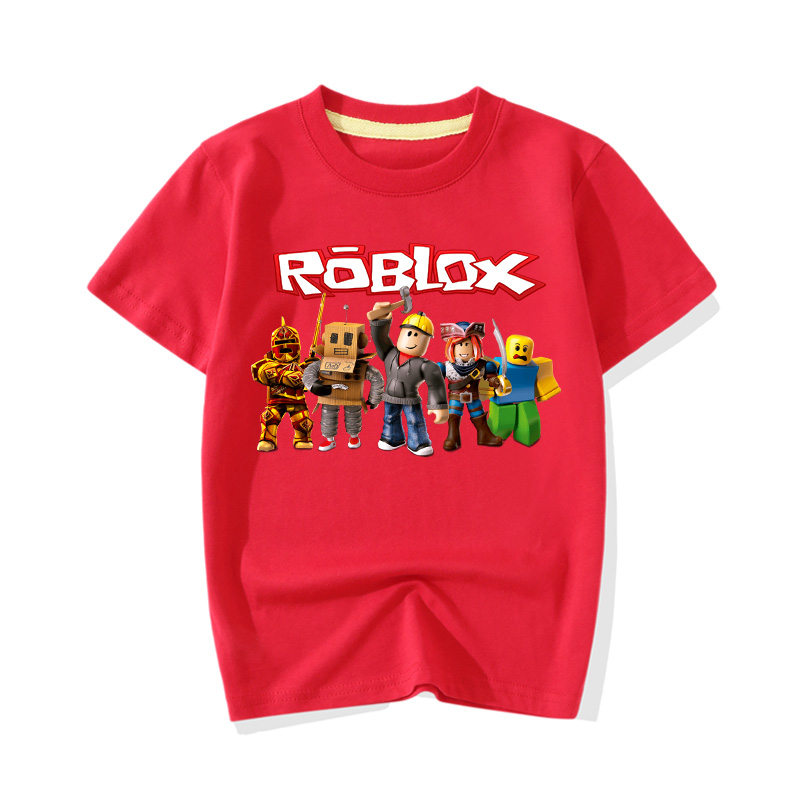 Big Boy Girl 1-13Y Summer T-shirts Children Short Sleeve Tee Top Clothes Cartoon Roblox Game Print Cotton Tshirts For Kids JY001(China)