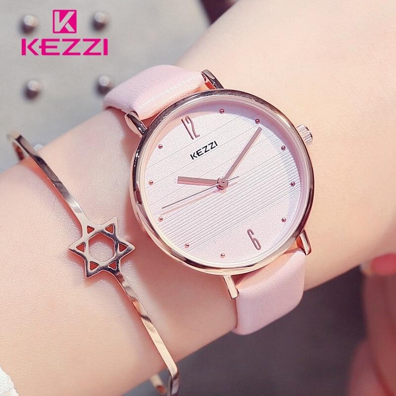 KEZZI 2018 Dames Rose Montre Décontractée à Rayures Femmes de Montre Étanche Mode Blanc En Cuir pour Femmes relojes mujer