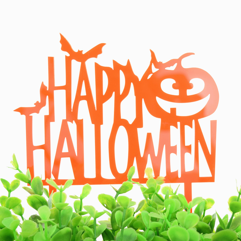1pc Creative Pumpkin Happy Halloween Acrylic Cake Flag All Saints Day Toppers For Party Decoration Supplies