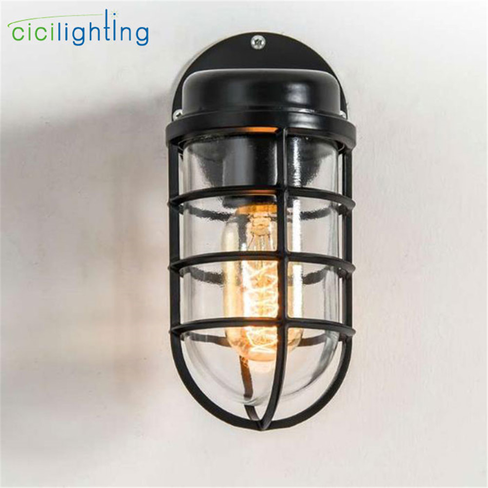 vintage retro wall lamps,iron black wall sconces,rainproof indoor outdoor wall lights,porch bar garden living room aisle lamps