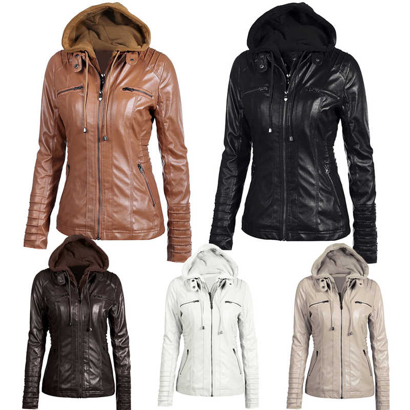 9c516f74e25 Women hoodies Winter Moto leather Jacket Turn Down Collor Ladies Zipper Outerwear  Faux Leather PU female