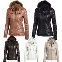 Women hoodies Winter Moto leather Jacket Turn Down Collor Ladies Zipper Outerwear Faux Leather PU female Jacket Coat Plus size