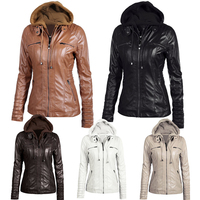Women hoodies Winter Moto leather Jacket Turn Down Collor Ladies Zipper Outerwear Faux Leather PU female Jacket Coat Plus size