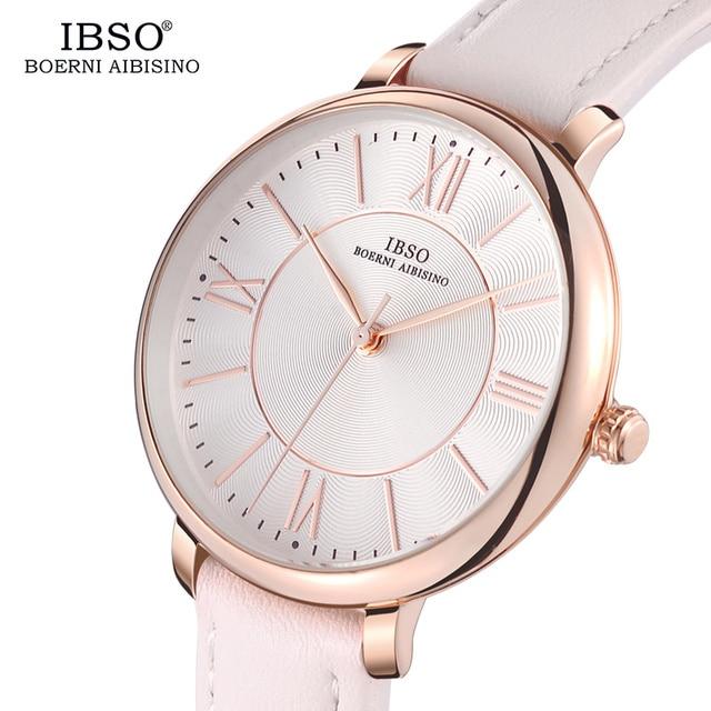 IBSO New Brand Quartz Watch Women White Luxury Genuine Leather Strap Women Watches 2019 Ladies Wristwatches Montre Femme