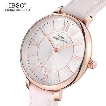 c6368e51ebbb IBSO nueva marca reloj de cuarzo de lujo blanco correa de cuero genuino de  las mujeres relojes 2019 damas pulsera Montre Femme