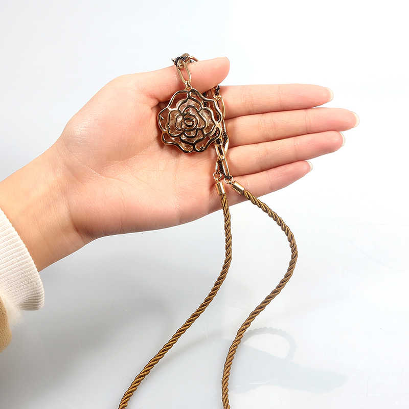 SUKI Hollowed Out Natural Stone CZ Sweater Chain Long Rose Necklace Pendant Rope Link Chain Women Fashion Flowers Jewelry