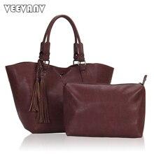 2 Sets Fashion Tassels Women Messenger Bags Leather Shoulder Bags Ladies Tote Handbag Female Crossbody Bags