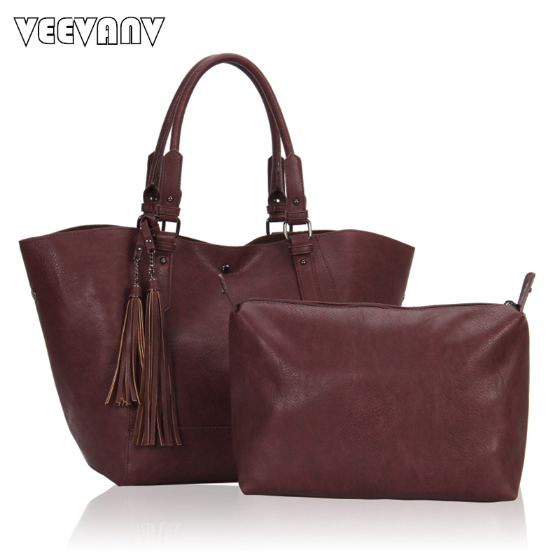 2 font b Sets b font Fashion Tassels Women Messenger Bags Leather Shoulder Bags Ladies Tote