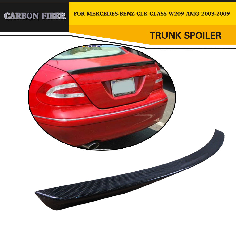 Car Styling Carbon Fiber Rear <font><b>Spoiler</b></font> Trunk Lip Wing For Mercedes-Benz CLK Class <font><b>W209</b></font> AMG 2003-2009 image