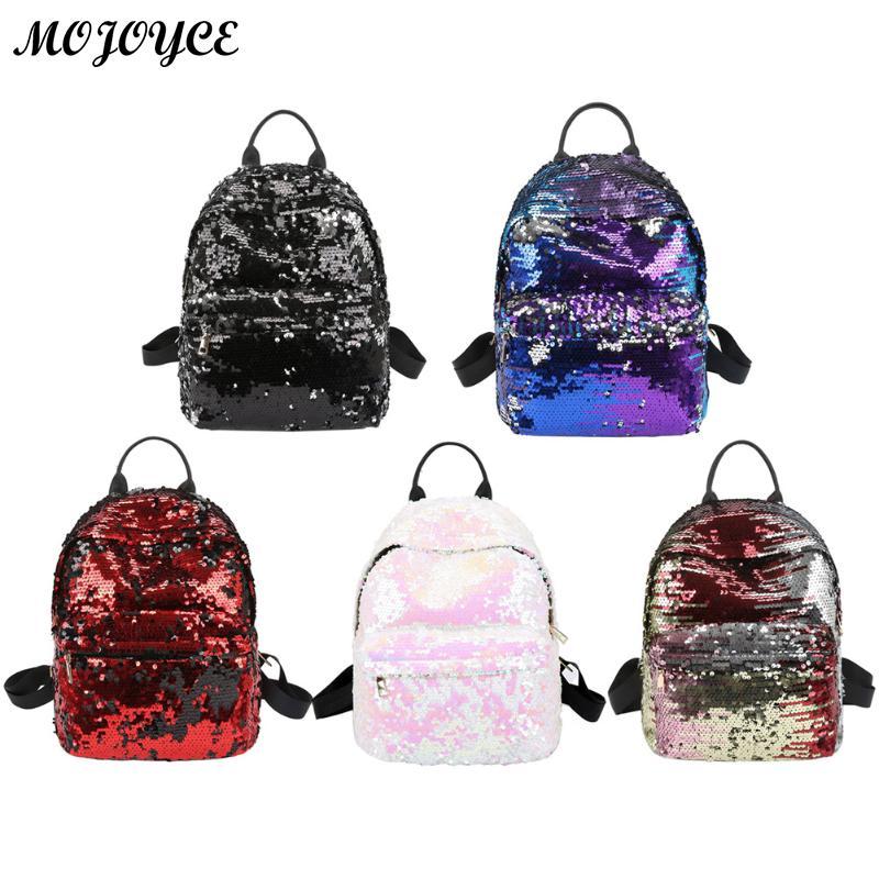 где купить Sequins Backpacks Women PU mochila Shine Backpack Glitter Large Girls Travel Shoulder Bags Fashion Brand Black School Bag female по лучшей цене