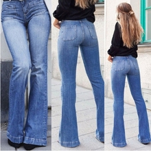 Flare Jeans for Women 2019 High Waist push up jeans plus size Stretch mom female wide leg ladies Casual pants