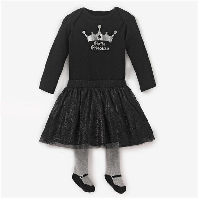 Princesa meninas Roupas Roupas Infantis Menina camiseta saias moda 2016 crianças conjuntos de Roupas da criança Roupas