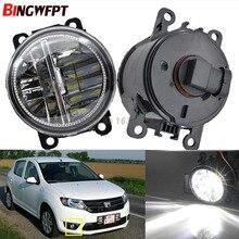 2x Car Exterior Accessories H11 LED Fog Lamps Front Bumper Fog Lights For Dacia Logan Duster Sandero 2004-2015