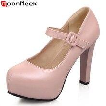 Moonmeek плюс размер 33-43 круглый носок свадебные туфли белый высочайшее качество кожа pu элегантные высокие каблуки платформы пряжки женщины насосы