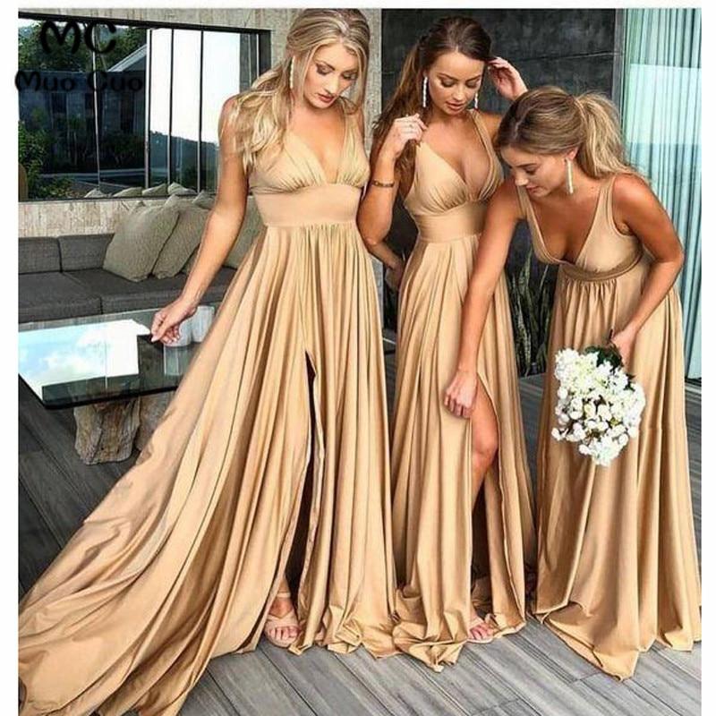2018 Excellent Wedding Party   Dress     Bridesmaid     Dress   Long Deep V-Neck Tank Shiny Satin Draped Women   Bridesmaid     Dresses