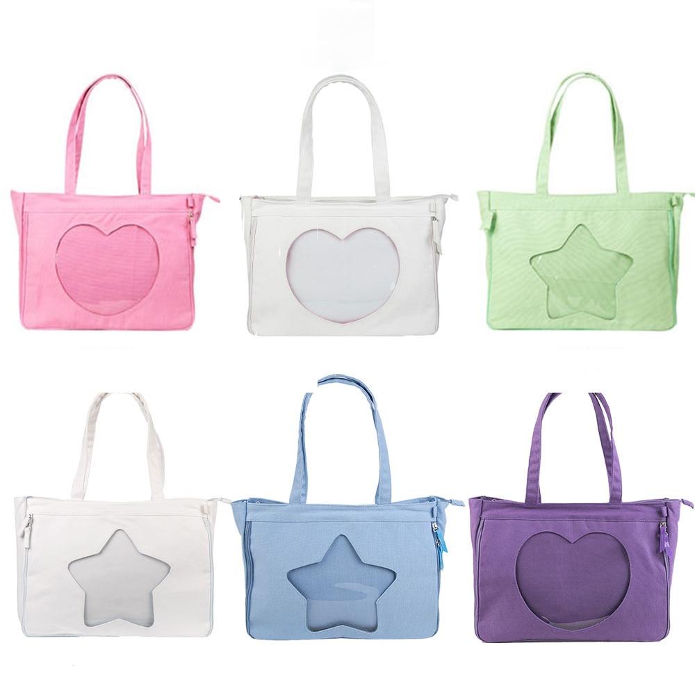 Comic Show Dolls Canvas Bag Sweet Lolita Star Heart-shaped Transparent Clear Girs Itabag Shoulders Bag Cosplay Handbag Ita bag bag