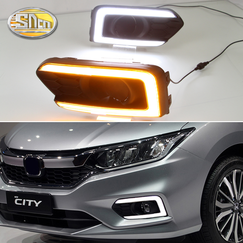 For Honda City Grace 2017 2018 Turn Yellow Signal Relay Waterproof ABS 12V Car Lamp DRL LED Daytime Running Light Fog Lamp SNCN sncn led daytime running light for honda city 2017 2018 car accessories waterproof abs 12v drl auto bulb fog lamp decoration