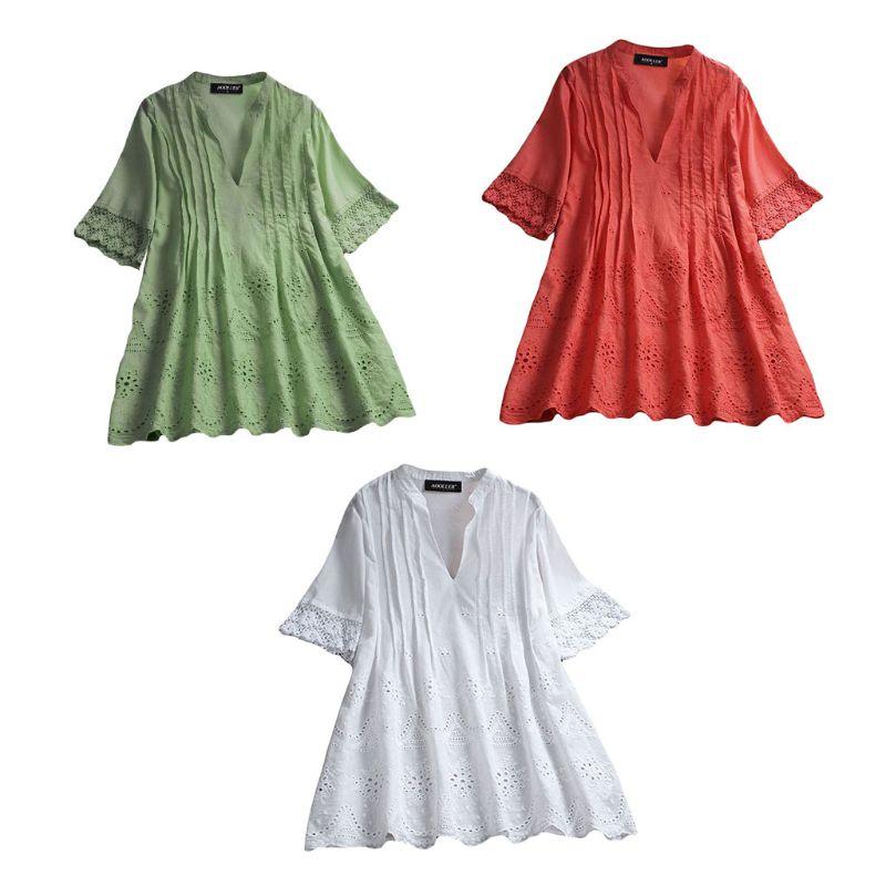 2019 Women Summer V Neck Short Sleeve Plain Loose Cotton Linen Top Casual Hollow Out Ruffles   Blouse     Shirt