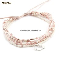 2017 JACK TU rose or semences perles mixte rose cristal kitty chat nylon wrap bracelet nouvelle année cadeau bijoux