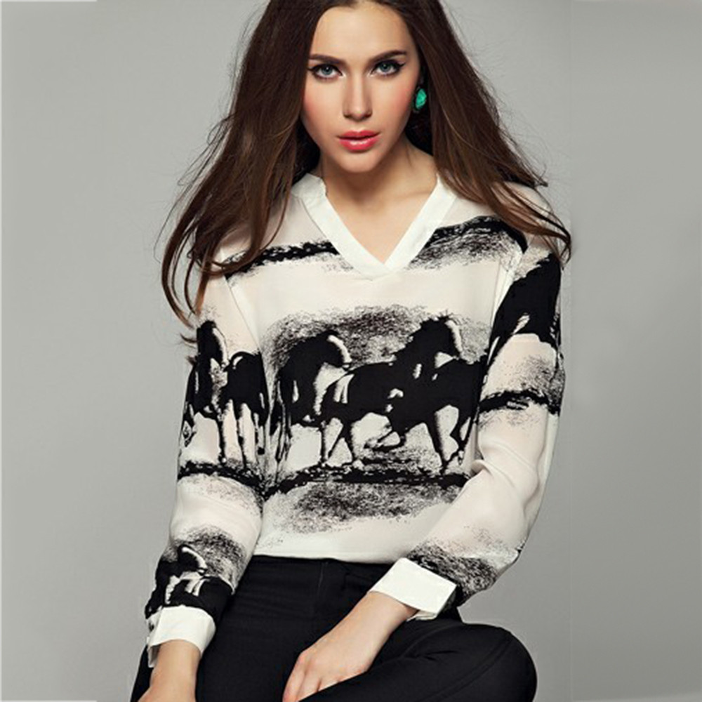 2019 Women Long Sleeve V Neck Ink Horses Printed Fashion Chiffon   Shirt   Tops Women Summer Casual   Blouses     Shirts   Camisas Mujer #E