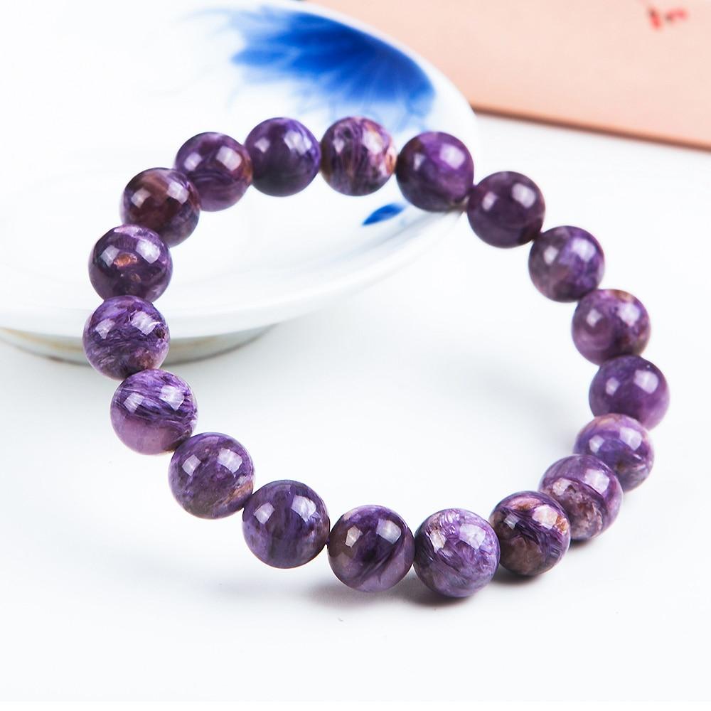 10mm Natural Purple Charoite Gemstone Women Men Round Beads Jewelry Bracelet Russian Healing Stone Fashion Lucky AAAAA