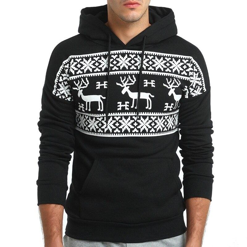 Loldeal Fashion Christmas Snowflower Prints Pullover Winter Sweater Men Black  Sweater  Men's Elk Hood Kerst Trui Mannen Women