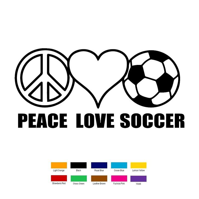 18cm x 6cm Peace Love Soccer Car Sticker For Truck Window Bumper Auto SUV Door Laptop Kayak Vinyl Decal 9 Colors