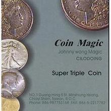 Джони Вонг супер Тройная монета айзенхауэр доллар Волшебные трюки