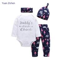 New Baby Boy Girl Suits Children Clothing Set Romper Pants Hat 3pcs Newborn Baby Clothes Cotton