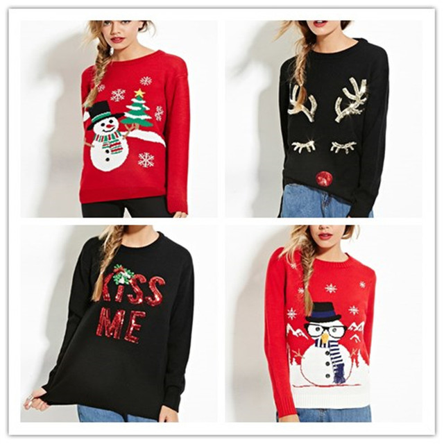 2016 Autumn Winter Christmas Sweater party Abstract Anime Character Sequined O Neck Black red Pullovers Knitwear Outerwear