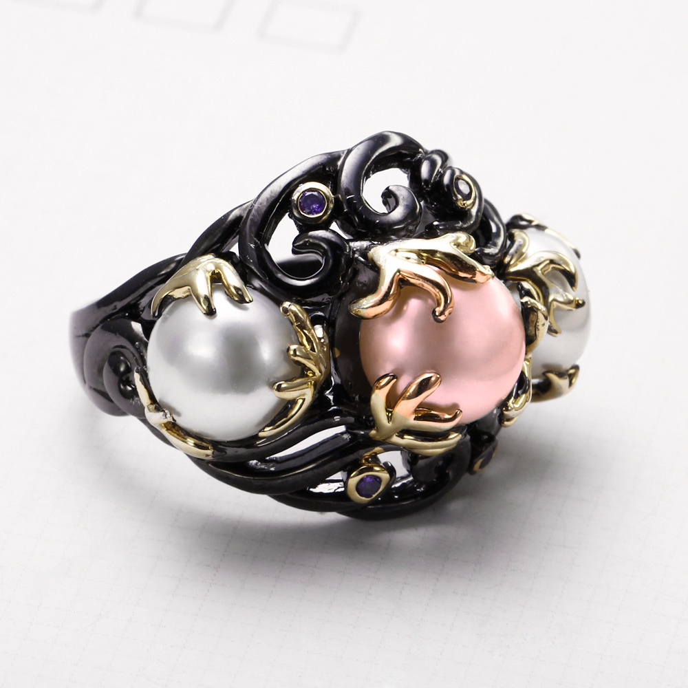 <font><b>reduction</b></font> cost Sale New ladies CZ wedding Rings brand New Zircon high great Black Gold-colour distinct traditional Pearl get together Ring