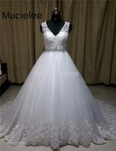 Real Bride Sexy V-neck Vintage Rhinestone Wedding Dress 2017 Bridal Gowns Modest Plus Size Wedding Dress Robe De Mariage 2017