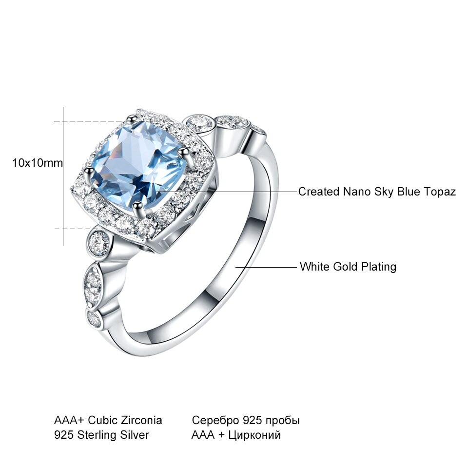 Image 5 - UMCHO Genuine 925 Sterling Silver Birthstone Ring Created Nano Topaz Garnet Amethyst CZ Rings Engagement For Women Fine JewelryRings   -