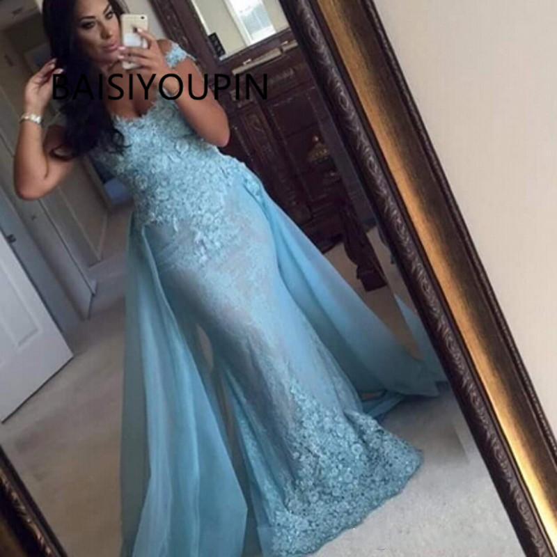 Light Sky Blue 2019 Long Mermaid   Prom     Dresses   For Women   Dresses   Evening Wear Detachable Appliques Off the Shoulder   Prom