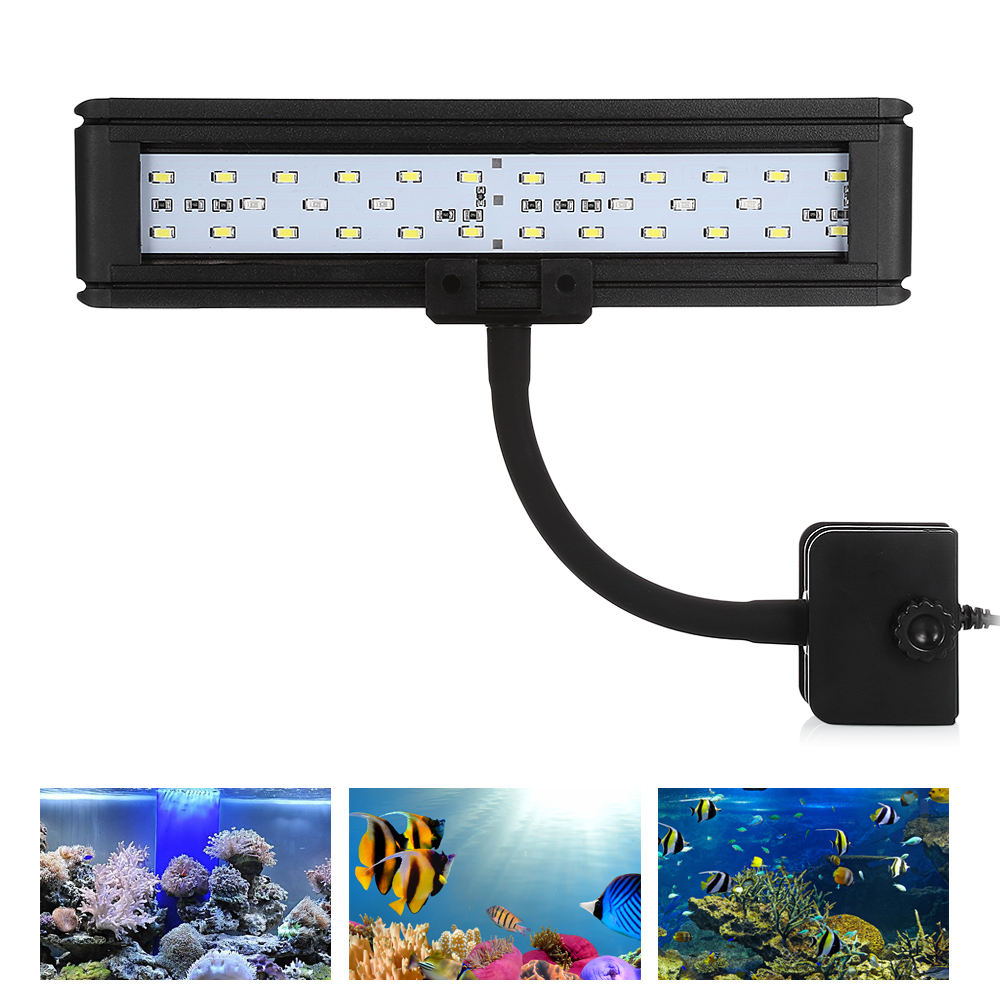 Aquarium Light 30pcs LEDs For Fish Tank With Clip Water Resistant Blue And White Lamps Clip-On Lamp Fresh Water Tank