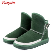 Natural leather 2016 latest thermal comfort Plush snow boots Short tube Cattle suede Flat woman large