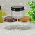40g empty transparent cosmetic cream PET containers,40ml  cream jars for cosmetics packaging plastic bottles with metal lids
