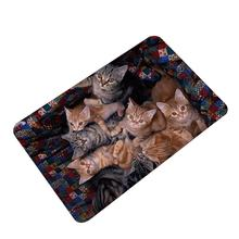 3D Kawaii Cat Print Welcome Floor Mats Bedroom Hallway Carpet Anti-Slip Soft Doormat for Living Room Kitchen(China)